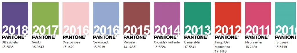 colores pantones de año anteriores al 2019